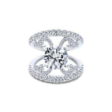 Gabriel & Co 14k White Gold Split Shank Diamond Engagement Ring