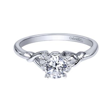 Gabriel & Co 14k White Gold Twisted Diamond Engagement Ring