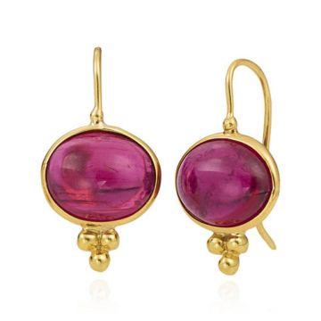 Mazza Co 18k Yellow Gold Pink Tourmaline Cabochon Earrings