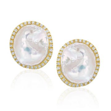 Mazza Co 18k Yellow Gold Fresh Water Pearl and Diamond Studs