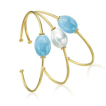 Mazza Co 18k Yellow Gold Aquamarine and Fresh Water Pearl Stackable Bracelets