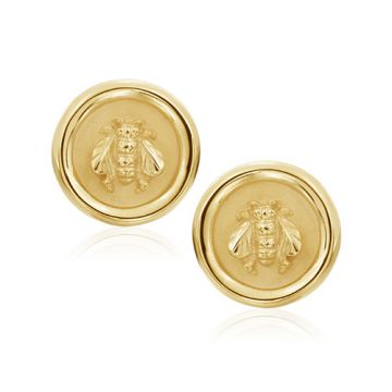 Mazza Co 18k Yellow Gold Round Gold Bee Earrings