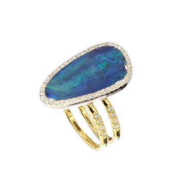Meira T 14k Two Tone Gold Double Band Australian Opal and Diamond Ring