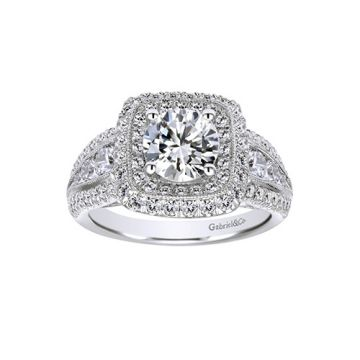 Gabriel & Co 14k White Gold Round Double Halo Semi Mount Engagement Ring