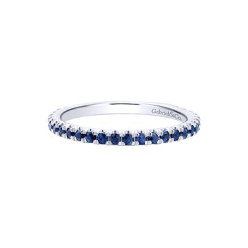 Gabriel & Co. 14k White Gold Blue Sapphire Stackable Ring