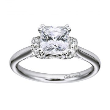 Gabriel & Co 14k White Gold Princess Cut Straight Engagement Ring