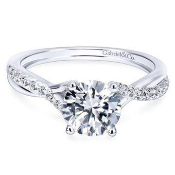 14k White Gold Gabriel & Co. 0.15ct Diamond Engagement Ring