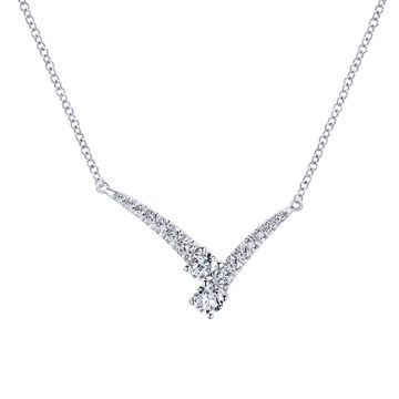 Gabriel & Co. 14k White Gold V Shaped Diamond Anniversary Necklace