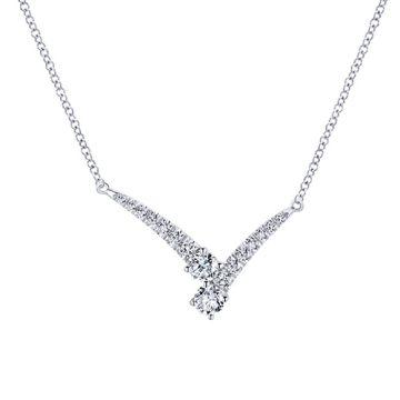 Gabriel & Co. 14k White Gold V Shaped Diamond Anniversary Necklace
