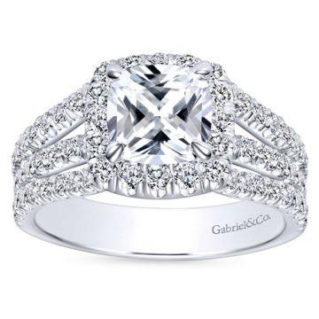 Gabriel & Co 14k White Gold Cushion Cut Halo Engagement Ring