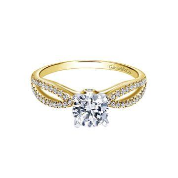 Gabriel & Co 14k Two-Tone Gold Split Shank Diamond Engagement Ring