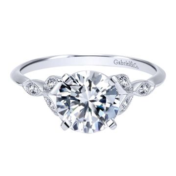 14k White Gold Gabriel & Co. 0.08ct Diamond Engagement Ring
