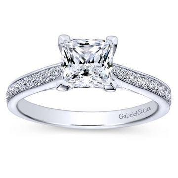Gabriel & Co 14k White Gold Princess Cut Straight Engagement Ring