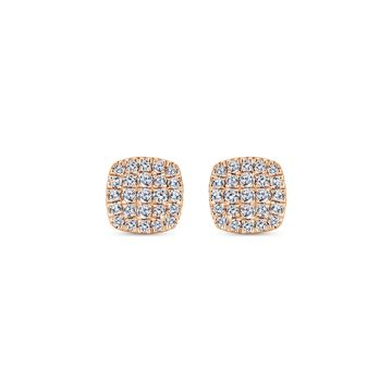 Gabriel & Co. 14k Rose Gold Twisted Rope Styled Diamond Earrings