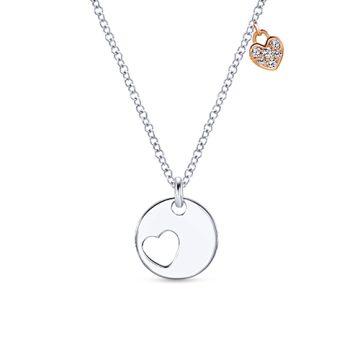 Gabriel & Co. 14k White Gold Heart Cut Out Diamond Necklace