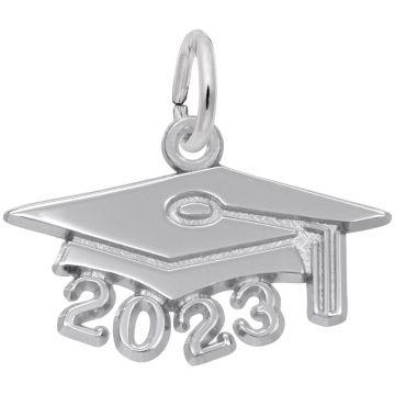 Rembrandt White Sterling Silver Grad Cap 2023 Large