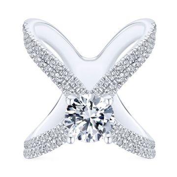 Gabriel & Co 18k White Gold Split Shank Diamond Engagement Ring