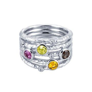 Gabriel & Co. Sterling Silver Multi- Stone Fashion Ring