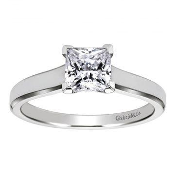 Gabriel & Co 14k White Gold Princess Cut Solitaire Engagement Ring