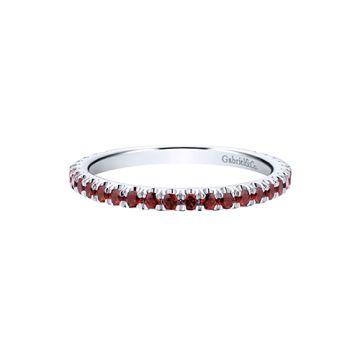 Gabriel & Co. 14k White Gold Garnet Stackable Diamond Ring