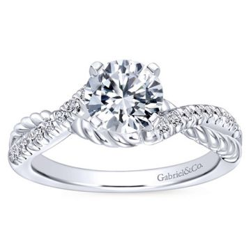 Gabriel & Co 14k White Gold Round Criss Cross Semi Mount Twisted Engagement Ring