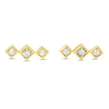 LexiMazz Designs 14k Gold Lex Triple Diamond Studs