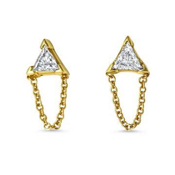 LexiMazz Designs 14k Gold Triangle Diamond Stud Earrings