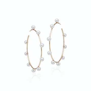 LexiMazz Designs 14k Gold Diana Large Pearl Hoops