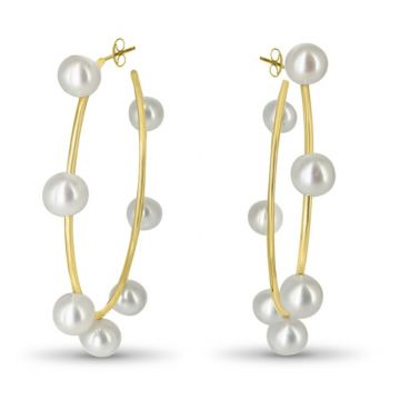 LexiMazz Designs 14k Gold Diana Medium Pearl Hoops