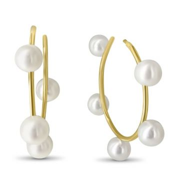 LexiMazz Designs 14k Gold Diana Small Pearl Hoops