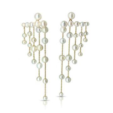 LexiMazz Designs 14k Gold Diana Pearl Stud Chandelier Earrings