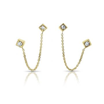 LexiMazz Designs 14k Gold Lex Double Diamond Dangle Stud