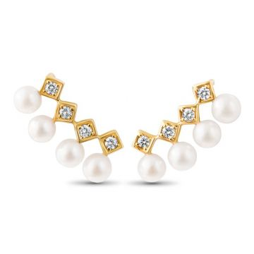 LexiMazz Designs 14k Gold Diana Diamond and Pearl Earclimber