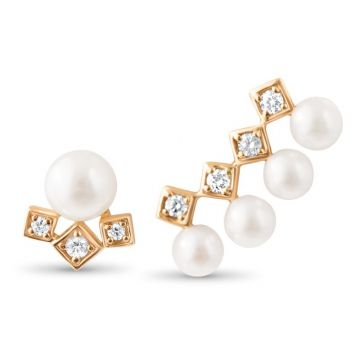 LexiMazz Designs 14k Gold Diana Diamond and Pearl Earclimber / Stud Match