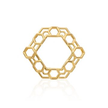"Gumuchian Honeycomb ""B"" 18k Yellow Gold Hair Jewel"
