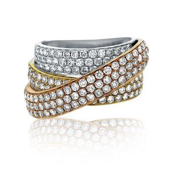 18K Tri-Tone White, Yellow, And Rose Gold Diamond Ring