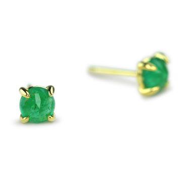 ILA 14k Yellow Gold Clarence Emerald Earrings