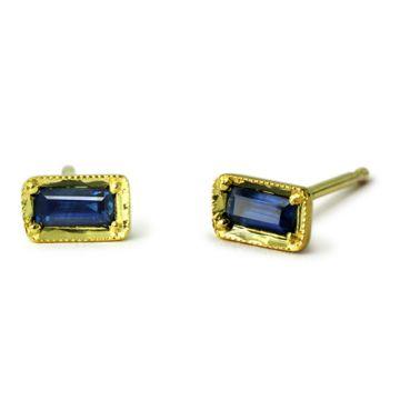 ILA 14k Yellow Gold Leone Blue Sapphire Earrings