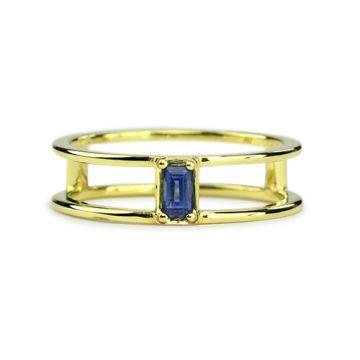 ILA 14k Yellow Gold Gianna Blue Sapphire Ring