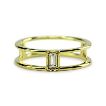 ILA 14k Yellow Gold Gianna White Sapphire Bangle