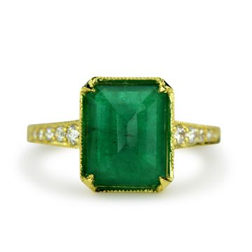 ILA 14k Yellow Gold Goodman Emerald & Diamond Engagement Ring