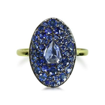 ILA 14k Yellow Gold Esther Blue Sapphire Ring
