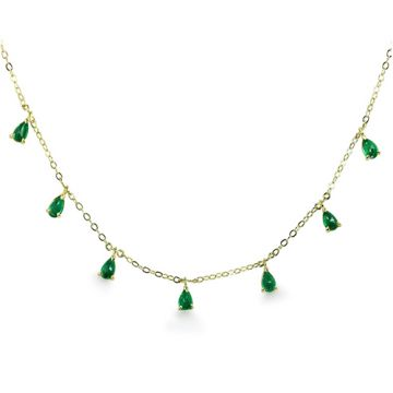 ILA 14k Yellow Gold Anning Emerald Necklace
