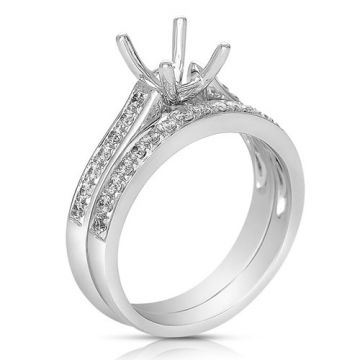 Fischer 14k White Gold Bead Set Semi-Mount Engagement Ring