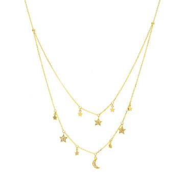 Midas 14k Yellow Gold Diamond Double Strand Dangle Star and Moon Necklace
