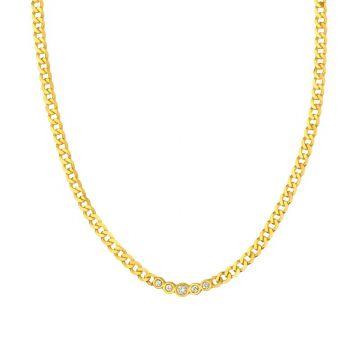 Midas 14k Yellow Gold Fancy Diamond Link Chain Adjustable Necklace