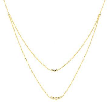 Midas 14k Yellow Gold Adjustable Fancy Double Diamond Layering Necklace