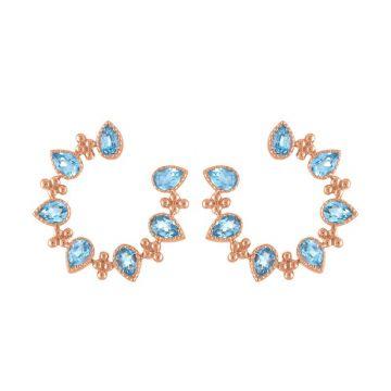 My Story 14k Rose Gold The Piper (Blue Topaz) Earrings