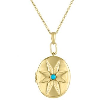 My Story 14k Yellow Gold  The Cheryl (Turquoise) Locket