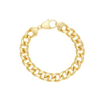 Midas 14k Yellow Gold 12.7mm Hollow Miami Cuban Link Bracelet
